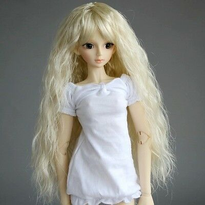 """[wamami] 023# Pale Blonde Wavy Wig Curly Hair For 1/6 SD DOD BJD dollfie 6-7"""""""