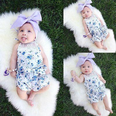 Newborn Baby Girl Infant Bodysuit Floral Romper Jumpsuit Outfits Sunsuit Clothes