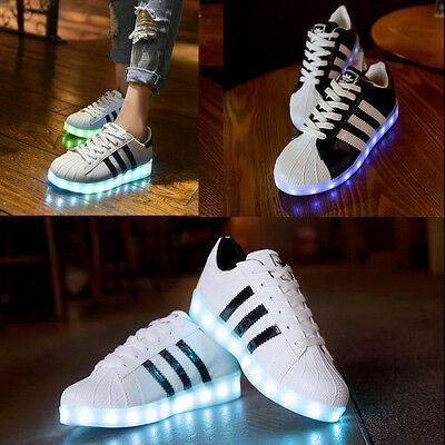 Men Women Lovers Led Night Light-Up Sneakers Lace Up Casual Unisex Shoes Sports