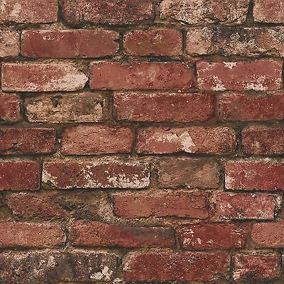Rustic Brick Effect Wallpaper Red Fine Decor Fd31285 Designer Feature Wall Uk