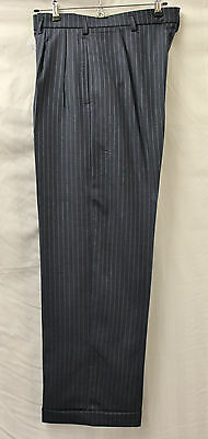 Men's 1940s Navy & Blue Pinstripe Trousers WWII reenactment WW2 40s Bag Trousers