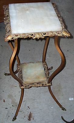 ANTIQUE Filigreed Victorian Solid Brass/Bronze Fernier Plant Stand 2 tier