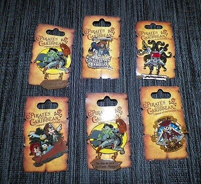 Disney Pirates Of The Caribbean 6 Pin Lot Legend Of The Golden Pins New On Card
