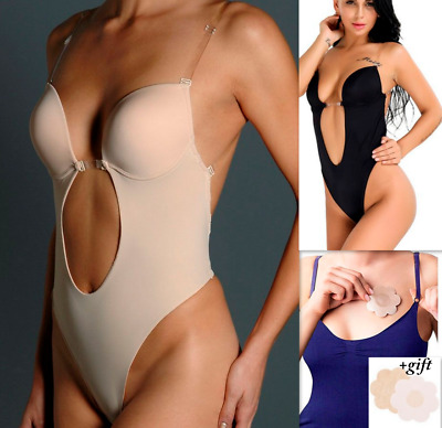 Deep Plunge Convrt Clear Strap Ultra Low Backless Push Up Thong Full Body Shaper