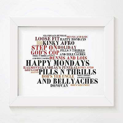 `Stoned Love` HAPPY MONDAYS Art Print Typography Album Song Lyrics Signed Poster