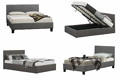 Grey Fabric Bed Buttoned Headboard 4FT, 4ft6 Double or 5ft King Padded Headboard