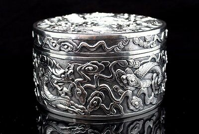Fine Antique Chinese Export Silver Circular Box & Cover Wang Hing