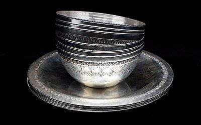 Lot Of Vintage Pre-1946 Egypt Cario 900 Silver Engraved Bowls And Dishes