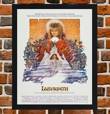 Framed Labyrinth Movie Poster A4 / A3 Size Mounted In Black / White Frame