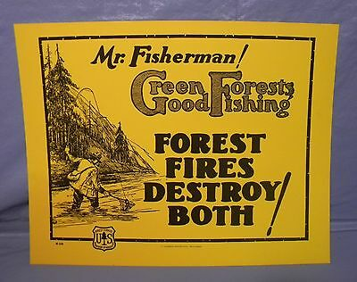 Old Forest Service Sign MR FISHERMAN FLY FISHING  Pipe Ex