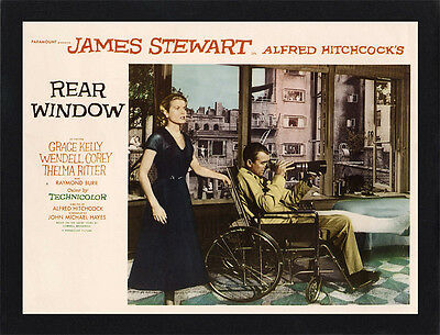 Framed Rear Window Hitchcock Movie Poster A4 Size Mounted In Black / White Frame