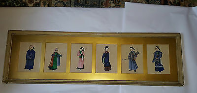 Six 19th Century Chinese Gouache on Rice Paper Portraits in Original Frame