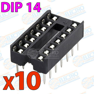 10x Zocalo integrado 14 PINs DIP 14 Socket doble contacto DIP14