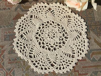 """Chic Beige Cotton Flower Hand Crochet Lace Doily/Topper/Tray Cloth Round 8"""""""