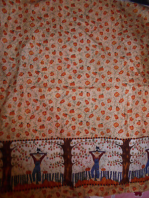 Pillowcase border country scarecrows and pumpkins crows fall fabric material