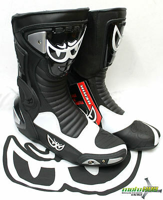 Berik GPX Motorcycle Leather Boots Black White Road Bike Ride Track Racing Shoes