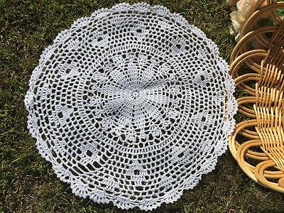 Vintage White Cotton Flower Hand Crochet Lace Doily/Topper/Tray Cloth Round