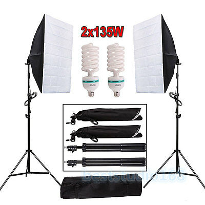 Photo Studio Continuous Lighting Softbox Light 2x135W Lamp Photography Stand Kit