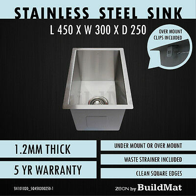 300x450x250 Single Bowl Stainless Steel Kitchen Sink Butler Laundry Trough Squar