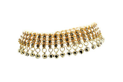Gold Kundan Stone Indian Payal Bollywood Anklet Ankle Chain With Bells (29)