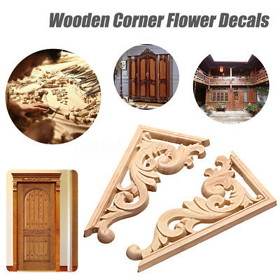 Wood Carved Decal Corner Applique Frame Door Wall Decor 13*7cm Unpainted New