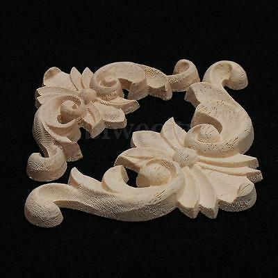 2 Sizes Wooden Carved Corner Onlay Applique Furniture Home Decor Unpainted