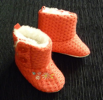 Baby clothes GIRL 3-6m Little Rocha pink fleece-lined boots/shoes/slippers  NEW!