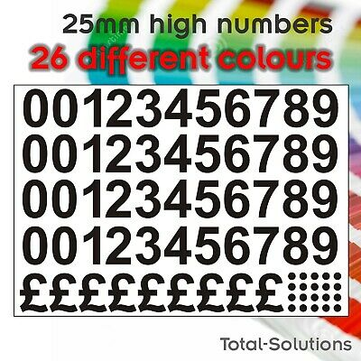 25mm (1 inch) Numbers & Pound Symbols for pricing items - Self Adhesive Vinyl