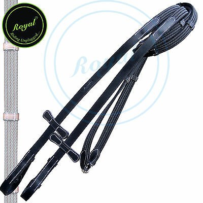 Royal Four Row Lined Rubber Web Reins with Seven Hand Stoppe, Black, Over, SS.