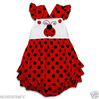"Aurora Royal Polka Dotted Baby Girl Pure Cotton ""Ladybug"" Applique Sunsuit."
