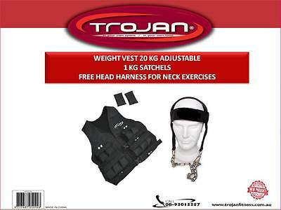 Weight Vest 20 Kg Adjustable 20 x 1 Kg Strap & Buckle FREE HEAD HARNESS