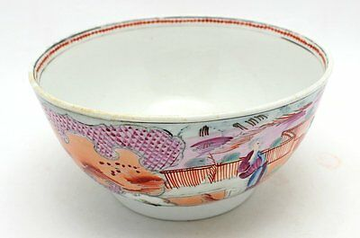 Antique Late 18Th Century New Hall Boy In The Window Pattern Porcelain Bowl