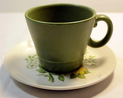 Wood and Sons England Ironstone Greenwood Cup and Saucer Floral Retro