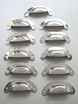 Lot of 11 NOS Antique Vintage Chrome Plated Brass Drawer Pulls - Kitchen Bath?
