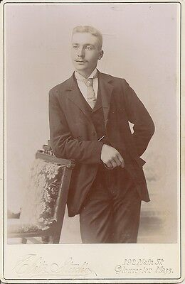 Antique Cabinet Photo pre 1900 Young Man in Suit w/chair Elite Studio Gloucester