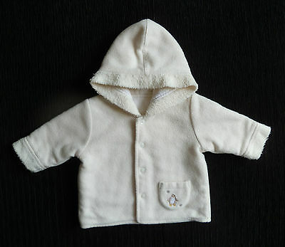 Baby clothes UNISEX BOY GIRL 0-3m cream fleece cotton-lined penguin jacket/coat
