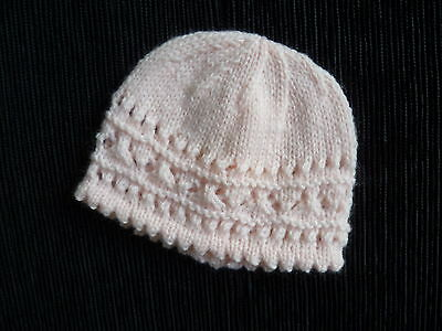 Baby clothes GIRL 0-3m pink hand-knitted patterned soft hat NEW!  SEE MY SHOP!