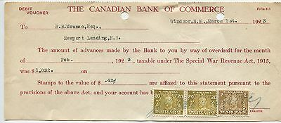 Old 1923 Bank check Commerce Canada 20 Cent Excise Tax Stamps