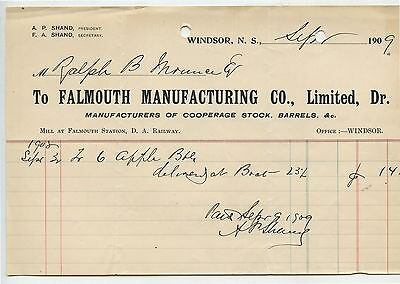 Old 1909 Falmouth Manufacturing Co Cooperage Stock Letterhead Windsor NS