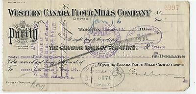 Old 1923 Bank check Western Canada Flour Mills 50 Cent Excise Tax Stamp