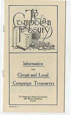 Old 1920 Booklet The Campaign Treasury Methodist Chuch Canada