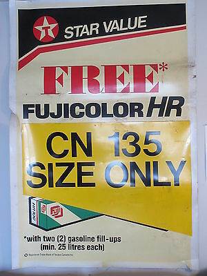 "Old Vintage Texaco Star Value Free Fujicolor Film  Plastic Large Sign 44"" X 64"""