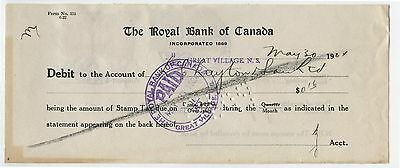 Old 1924 Bank check Royal Bank Canada 6 Cent Excise Tax Stamps
