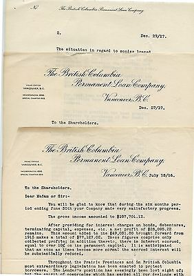 3 Old 1916 British Columbia Permanent Loan Company Letterheads Vancouver BC