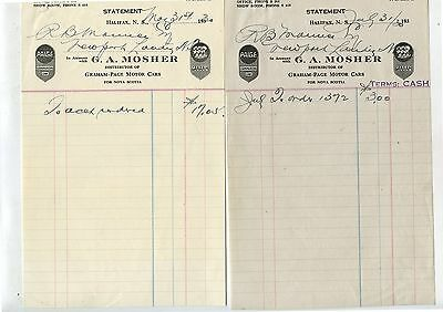 2 Old 1930 G.A.Mosher Graham Page Motor Cars Letterheads Halifax NS