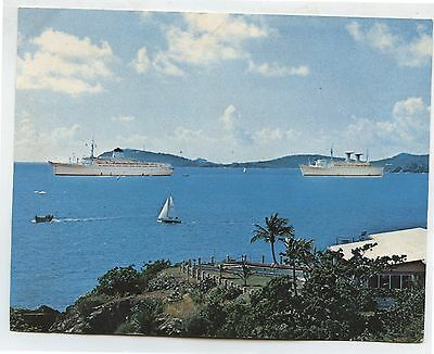 Old Vintage The Italian Line Cruise Ship Advertising Card