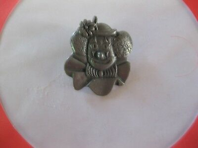 Clown Head Pin Back ( Pewter ) New Marked (Sos Vision)