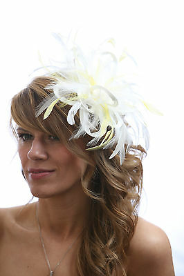 White Fascinator hat with yellow highlights/choose any colour satin & feathers