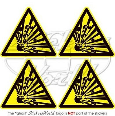 "EXPLOSIVE Warning Safety Sign Explosion Danger 50mm(2"") Vinyl Stickers-Decals x4"