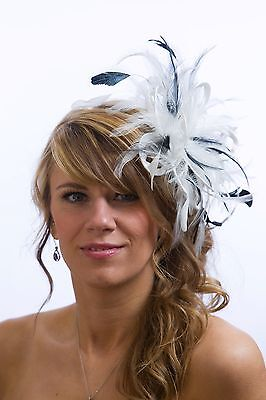 White Fascinator hat with navy blue highlights/choose any colour satin/feathers
